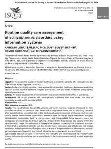 ROUTINE QUALITY ASSESSMENT OF SCHIZOPHRENIC DISORDERS
